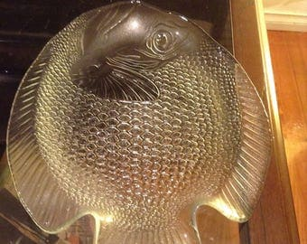 Glass Fish Plate Or Serving Tray By Arcoroc France.