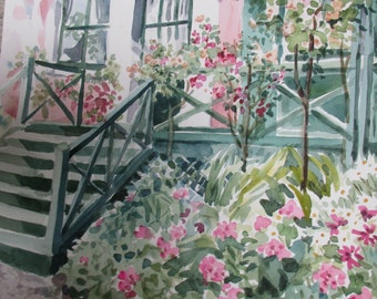 Monet's House at Giverny, Original Watercolor
