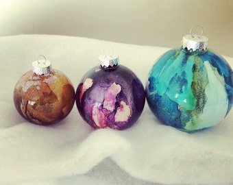 SMALL painted glass ornament