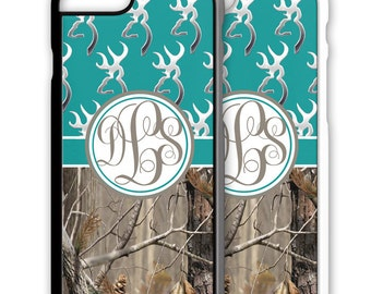 Turquoise Teal Buckhead Deer Camo Monogrammed Iphone Case 5 6 7 Galaxy S4 S5 S6 S7 Cover Personalized 5S SE Plus