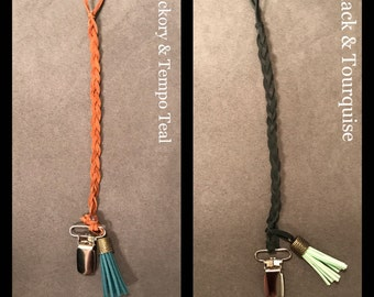 Leather Binky Clips with Tassel
