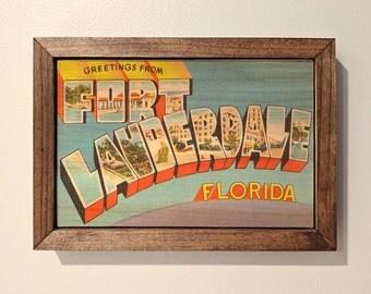 Ft. Lauderdale Postcard Wooden Sign