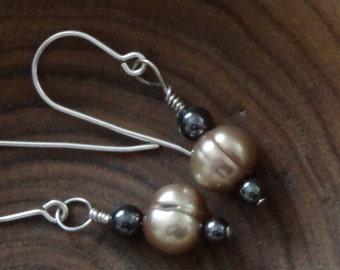 Champagne colored fresh water pearl earrings