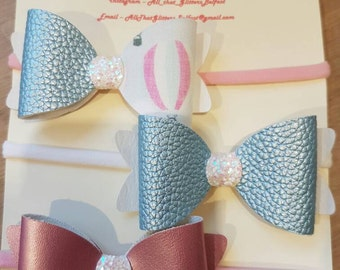 Fabric felt and glitter hairbow set