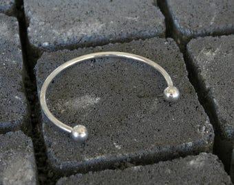 Open Cuff Bracelet, End Ball Bangle, Silver Ball Cuff Bracelet, Thin Silver Cuff Bracelet, Adjustable Silver Cuff, Open Bangle Whit Balls