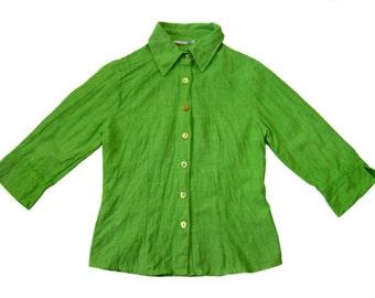 Vintage Bottega women shirt blazer 100% linen green lime size S made in Italy