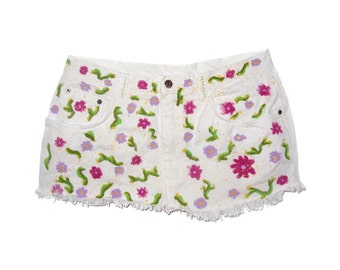 Handmade hand painting white skirt jeans colorful flowres