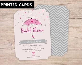 Bridal Shower Invitations, Bridal Shower Invitation, Personalized, Shower Invites, little pink umbrella