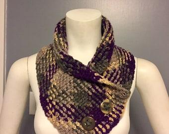 Argyle crochet cowl, crochet scarf, argyle cowl, argyle scarf, plaid cowl, plaid scarf, planned pooling, hand-made cowl