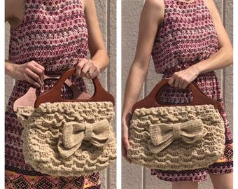 Wooden Handle Crochet Bow Purse by Mom