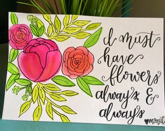 Monet Flowers watercolor quote