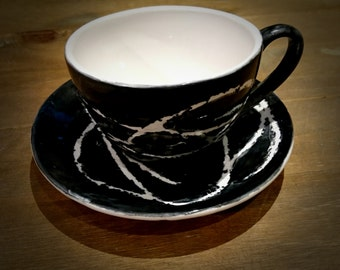 Cappuccino Cup & Saucer, hand painted ceramic, birthday gift, tea lover, coffee cup, black and white, weird and wonderful