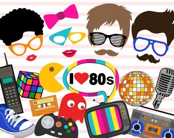 Printable 1980s Party Photo Booth Props, Retro 80's Party Photo Booth Props, Instant Download I love 80s Party Photo Booth Props 0385