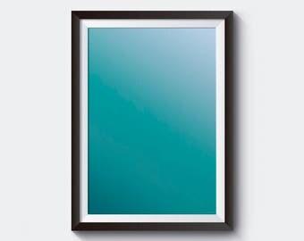 Tired Aquamarine , Instant, Gradients, Printable Art, Shades of Blue, Blue Darker, Blue Lighter, Color Merge, Artwork, Painting, Minimal