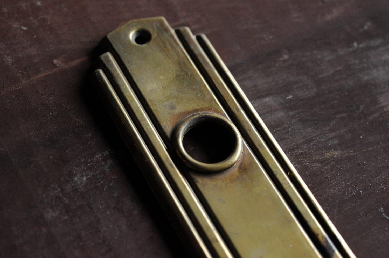 Art Deco antique brass door plate escutcheon hardware / brass deco ...