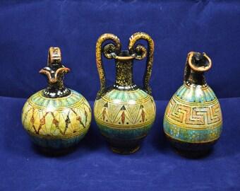 Vase geometric period reproduction amphora oinochoe miniature 3 item set