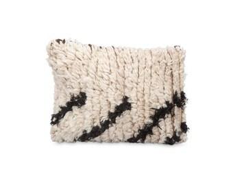 Azilal cushion NO.19 / abstract print throw cushion, woven wool design
