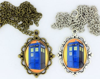 Dr Who Tardis Police Box Necklace or Keychain Doctor Who Various Color Options
