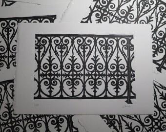 Parisian ironwork: linocut