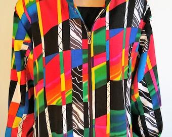 Vintage 80's Women's Colorful Geo ColorBlock Rainbow Bomber Jacket Windbreaker Hoodie Activewear  by DRAPERS + DAMON'S Plus Size 1X