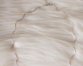 Delicate Sterling Silver Spiral Chain Collar Necklace