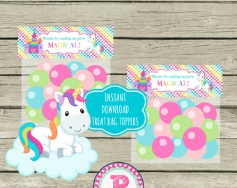 Unicorn Birthday Party Fold Over Treat Bag Toppers Tags Aqua Pink Rainbows Clouds Castle Fairy tale Magical Unicorns