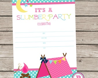 Slumber Party Fill In the Blank style Birthday Party Invitation Instant Download Summer Time Sleepover Camping Glamping Smores 5x7