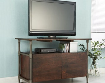 Santara wood & metal dark walnut finish tv unit - Industrial finish