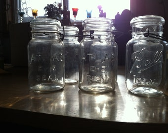 6 Antique canning jars 1 qt