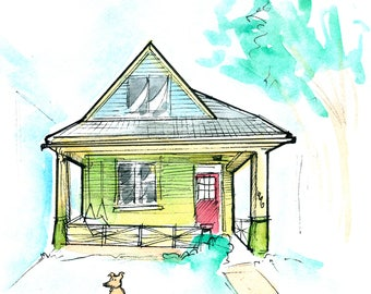 Custom House Drawing - Your home/abode/apartment/dwelling/teepee - In Watercolor/Ink!