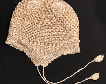 Antique Crocheted - Knitted Silk Baby Hat with Soft Crocheted Wool Lining c. 1920 - 1930