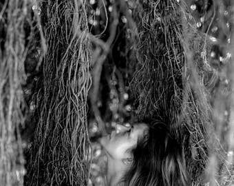The Jungle Goddness- Black and White Photography, B&W Art Print, Forest, Woman, Medium Film Camera