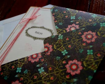 Floral Cards and Envelope Set of 5