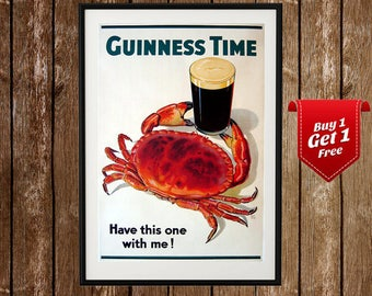 Have This One With Me   Guinness Crab, Vintage Guinness Poster, Beer Poster,