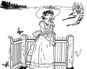 Susan Blue-A Hand Drawn Vintage Coloring Page