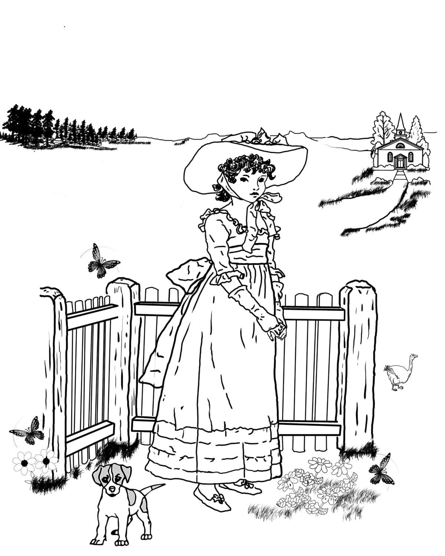 Coloring pages vintage - Susan Blue A Hand Drawn Vintage Coloring Page