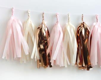 Rose Gold Tissue Tassel Garland Kit