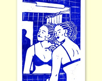 The Mirror - 24x32cm Linocut print