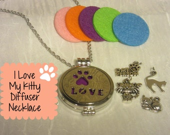 I Love my Kitty Essential Oil Diffuser Necklace