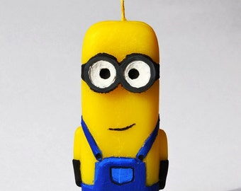 Handmade Minions candles, pillar candle, big black, candle, cut candle, figure candle, handmade cut candles, carved candles, amazing-looking