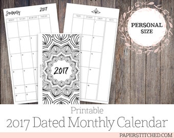 Printable 2017 Dated Monthly Inserts, Personal Planner Size Inserts , Ringbound, Minimalist, Mandala, JAN - DEC 2017