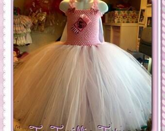 Elsa inspired tutu dress. Floor length. With cape