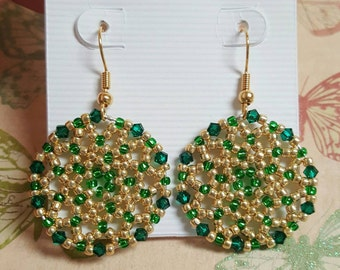 Beautiful Handmade Green and Gold Beaded Earrings. Great for everyday use, holiday jewelry or any special occasion!!