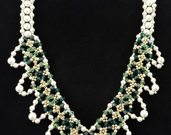 Swarovski Pearl and Green Crystal Party Necklace