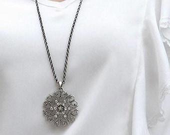Long Gunmetal Pendent Necklace