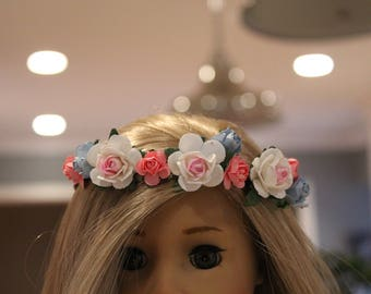 "18"" Doll Flower Crown white, blue and pink"