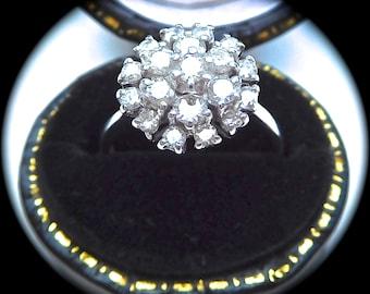 Vintage 18ct white gold & diamond cluster ring, brilliant cut diamond cluster ring, diamond cluster engagament ring, vintage engagement ring