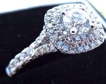 18ct & diamond halo ring, double halo ring, vintage style diamond engagement ring, brilliant cut diamond ring,