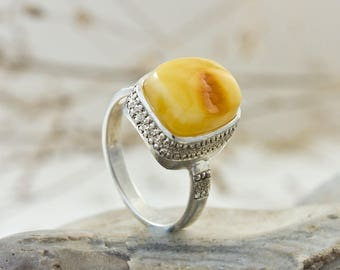 Designer Silver And Baltic Amber Men's Ring