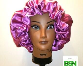 Fancy Rose Pink Reversible Satin Bonnet